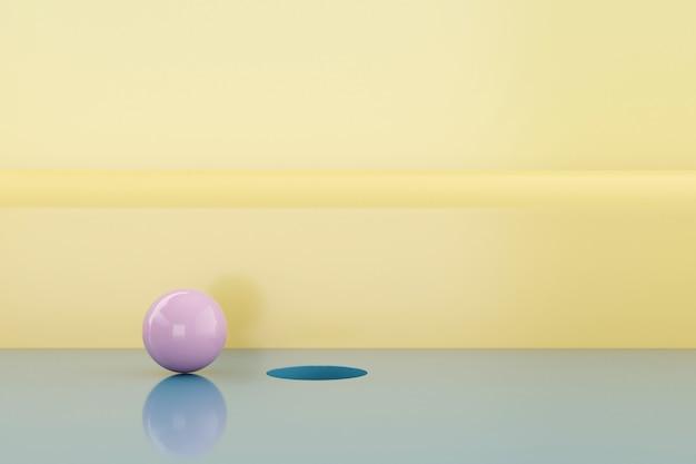 円形の最小限の背景。 3dレンダリング。