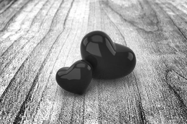 黒と白の心の背景。 3dレンダリング。