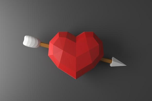 Низкополигональная сердце на стене. 3d-рендеринг.