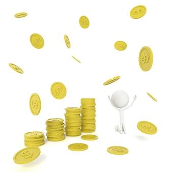 コンセプトを保存する人モデルとドル硬貨。 3dレンダリング。