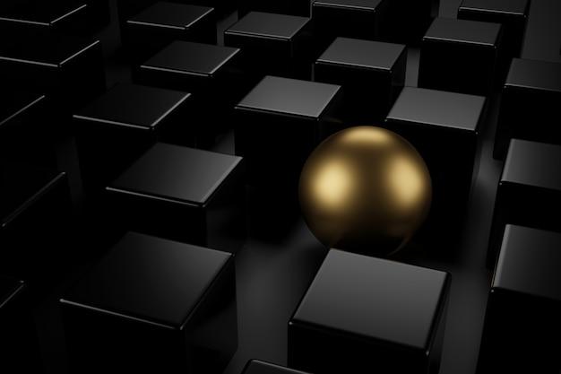 さまざまな概念を持つ黒い立方体の中で黄金の球。 3dレンダリング。