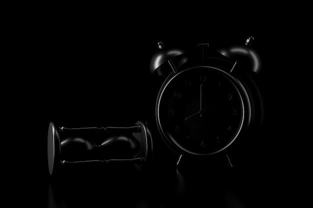 暗闇の中で砂時計と時計の光と影。 3dレンダリング。