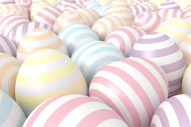 パステル調のカラフルなボールの背景。 3dレンダリング