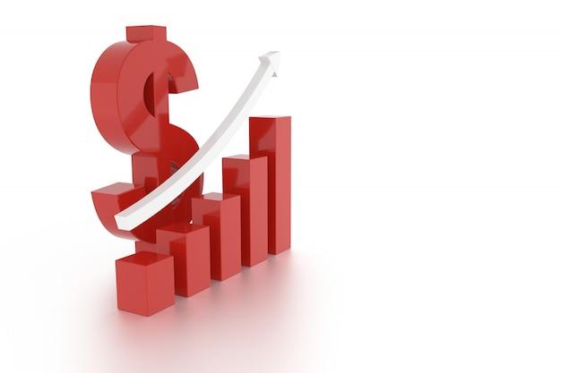 ドル通貨記号とグラフ。 3dレンダリング。
