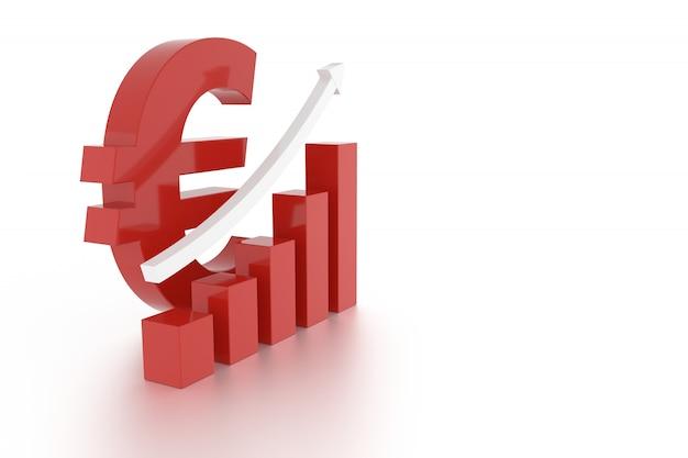 Знак валюты евро и график. 3d-рендеринг.