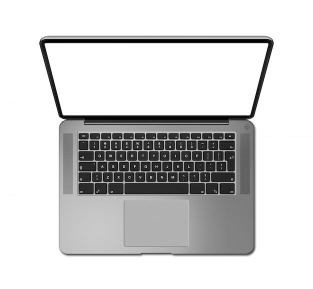 白で隔離、空白の画面でノートパソコンのトップビューを開きます。ダークシルバー。 3dレンダリング