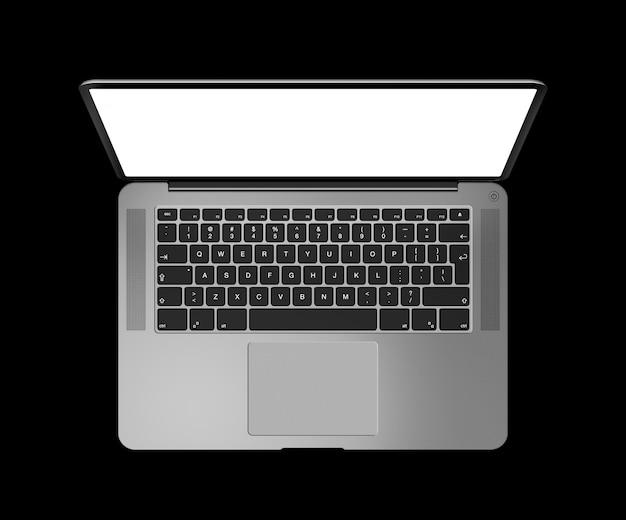 黒に分離された空白の画面でノートパソコンのトップビューを開きます。ダークシルバー。 3dレンダリング