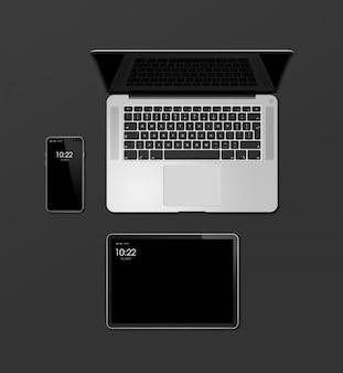 ノートパソコン、タブレット、電話は黒に分離されたモックアップを設定します。 3dレンダリング