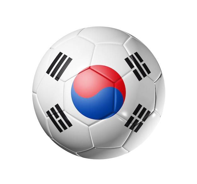 韓国チームの旗、ワールドサッカーカップの3dサッカーボール。孤立した