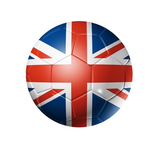 イギリスチームの旗、世界のサッカーカップの3dサッカーボール。孤立した