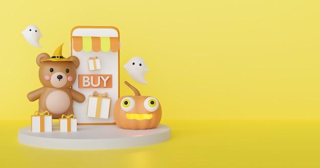 Концепция покупок хеллоуина онлайн с милой ведьмой и призраками. 3d-рендеринг