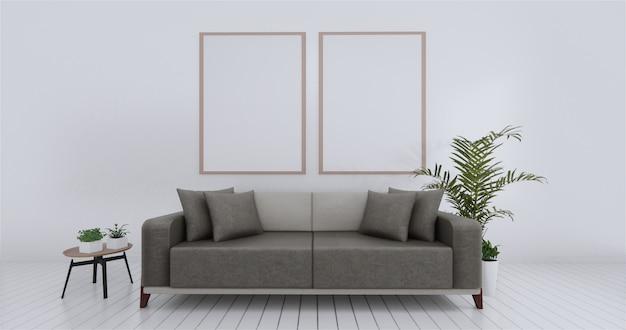 Гостиная внутренняя стена макет пустой белый. 3d-рендеринг.