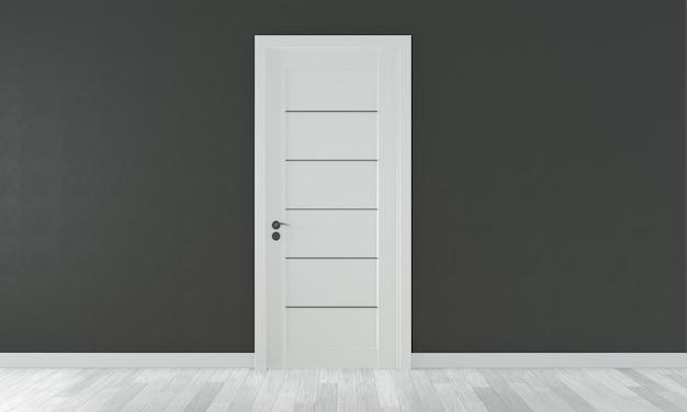 Дверь в пустой комнате черная стена на белом деревянном полу. 3d рендеринг