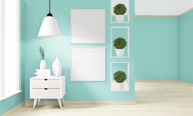空白のフォトフレーム、床木製インテリアデザインと空の部屋のミントの壁。 3dレンダリング