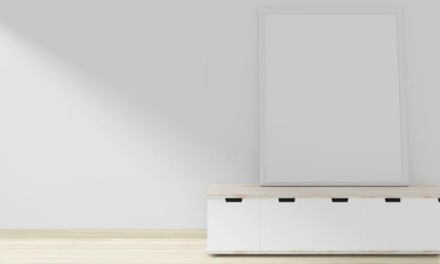 空の部屋のインテリアデザインに空白のフォトフレームミニマルなデザインのキャビネット木製日本語。 3dレンダリング