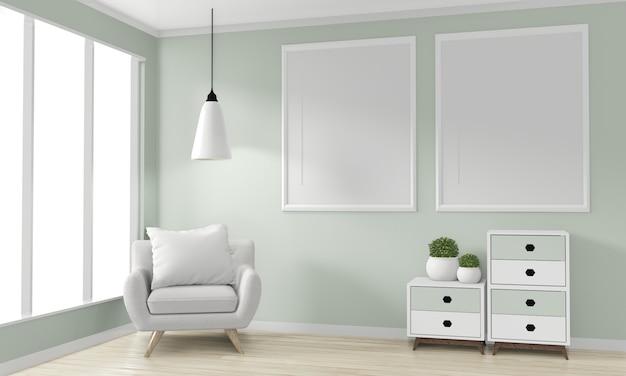空白のフォトフレーム、キャビネット木製和風デザインとアームチェアのある部屋。 3dレンダリング