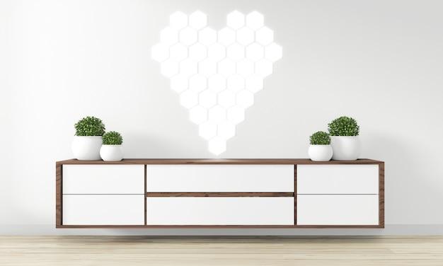 モダンな空の部屋のキャビネット木製デザイン-禅スタイル、最小限のデザイン。 3dレンダリング
