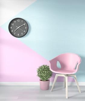 木製の床に空のピンク。 3dレンダリング
