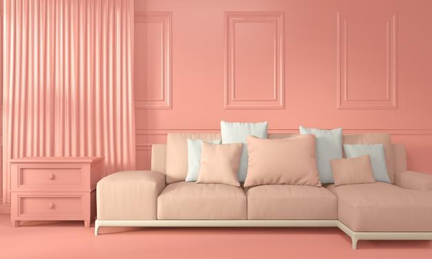 Кресло и отделка интерьера комнаты цвет живой коралловый стиль, 3d рендеринг