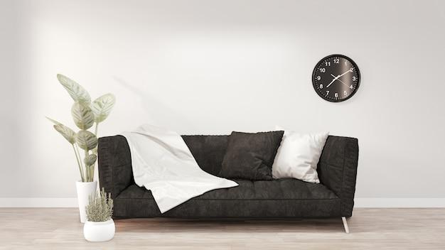 Современный интерьер комнаты с черным диваном на комнате белой стене. 3d рендеринг