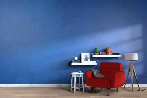 木製の床とリビングルームのインテリアに青い空の壁。 3dレンダリング
