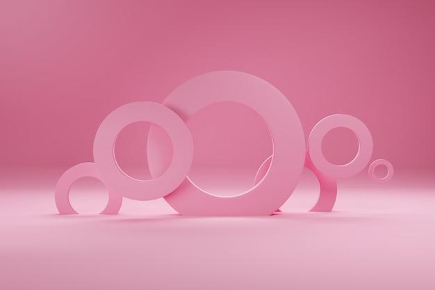 Кольца розового цвета, для баннера или плаката. минимализм, абстрактные геометрические фигуры и фон формы 3d визуализации.