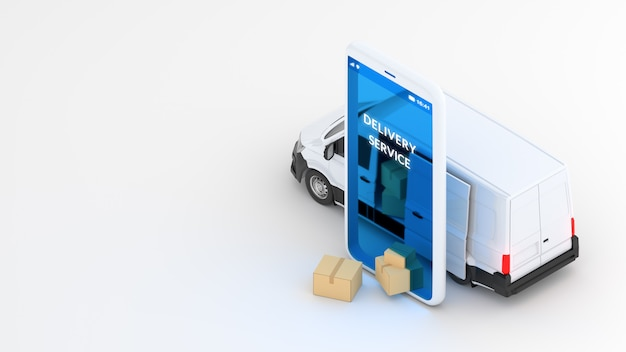 Концепция доставки онлайн, служба доставки. белый фургон и мобильный телефон. 3d-рендеринг
