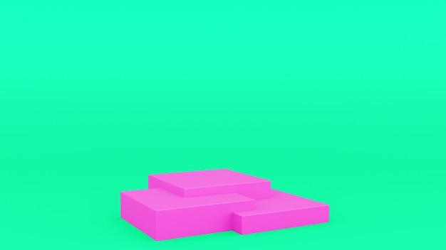 Коробка геометрическая подиум розово-зеленая сцена минимальная 3d рендеринг современный минималистичный, пустая витрина