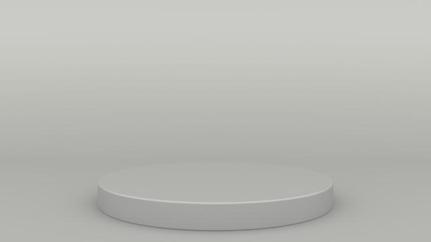 Цилиндрический подиум серая сцена минимальный 3d рендеринг современный минималистичный