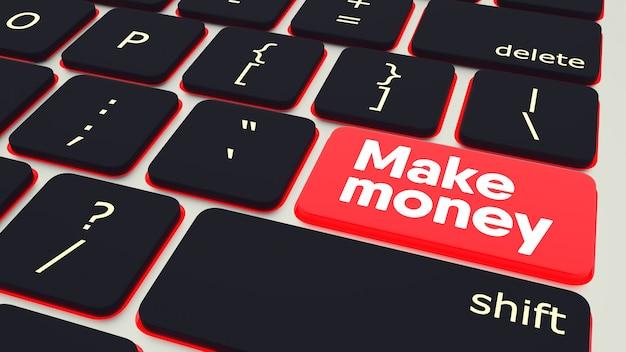 Кнопка с текстом заработать деньги ноутбук клавиатура. 3d-рендеринг