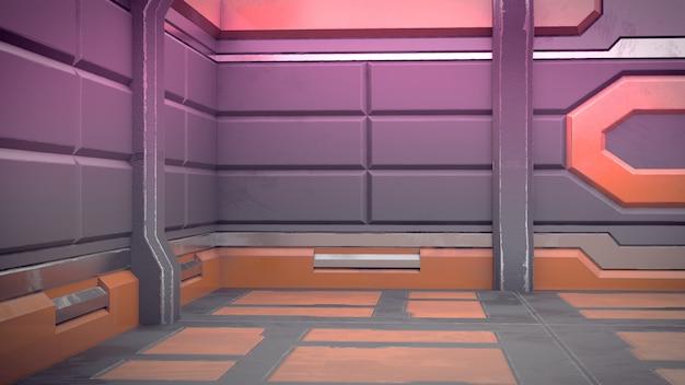 3d представляют футуристического интерьера космического корабля дизайна. оказывать