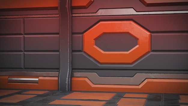 Научная фантастика интерьер комнаты научно-фантастический космический корабль коридоры оранжевый, 3d-рендеринг
