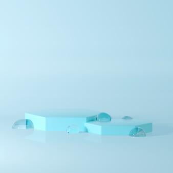 水滴と調和した3dレンダリングアワード表彰台。