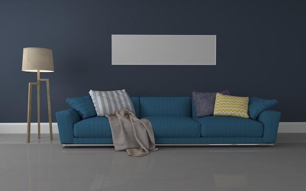Интерьер роскошной гостиной реалистичный макет 3d визуализированного дивана - лампа и рамка