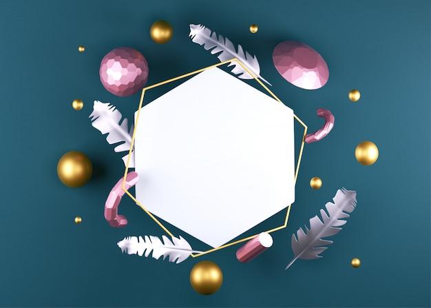 真珠、ダイヤモンド、羽毛などのクリスタル要素の3dレンダリング