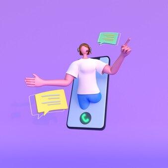 ビデオ通話とチャットから話しているオンラインの顔の見えない女性の3dビュー。