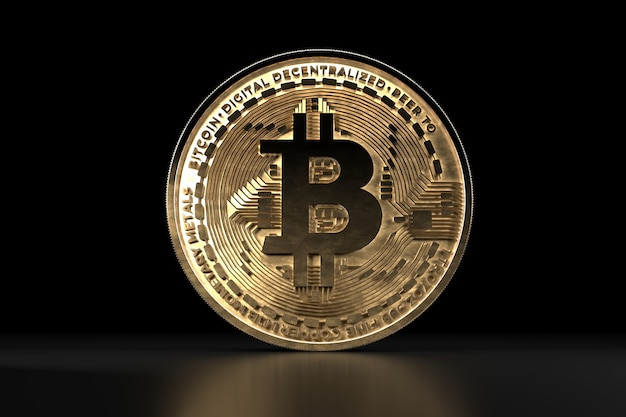 Биткойн золотая монета, цифровая валюта. 3d криптовалюта.