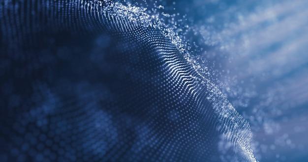 Иллюстрация технологии данных абстрактная футуристическая. низкополигональная форма с соединительными точками на темном фоне. 3d-рендеринг. визуализация больших данных. волна частиц. футуристический синий фон точек