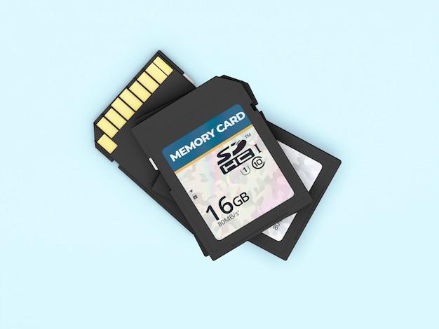 青に分離されたメモリカード3dモックアップ