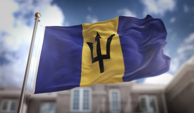 Барбадосский флаг 3d-рендеринг на фоне голубого неба
