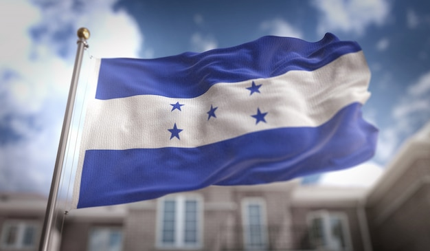 Гондурасский флаг 3d-рендеринг на фоне голубого неба
