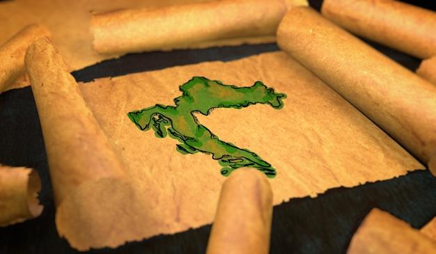 クロアチアの地図ペインティング古い紙スクロール3dの展開