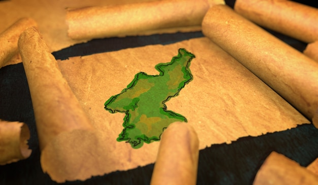 北朝鮮の地図ペイント、古い紙のスクロール3d展開