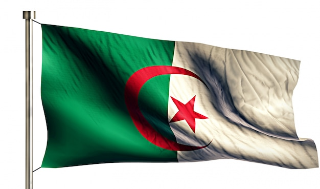 アルジェリアの国旗は、3dの白い背景を分離