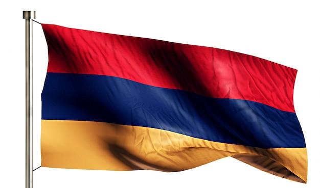 アルメニア国旗は、3dの白い背景を分離