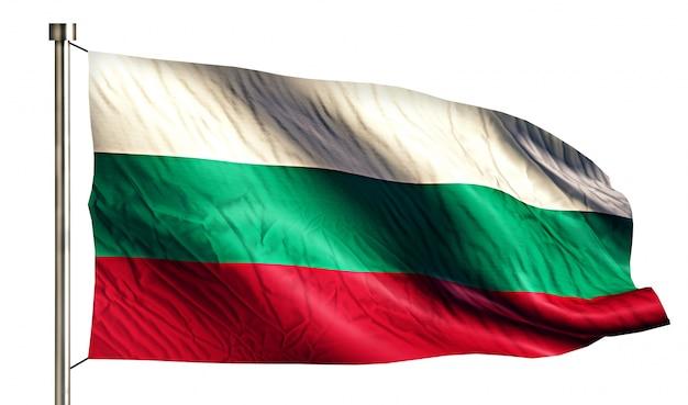 ブルガリア国旗は、3dの白い背景を分離