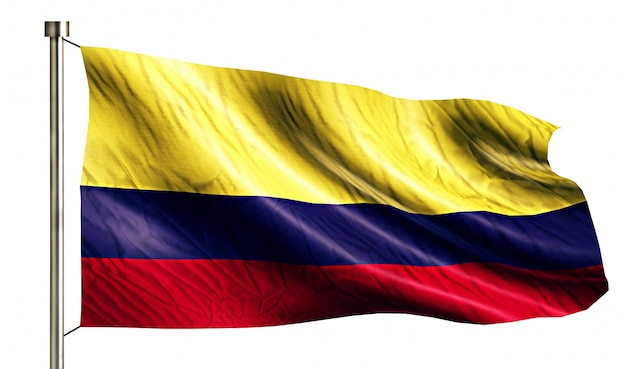 コロンビアの国旗は、3dの白い背景を分離