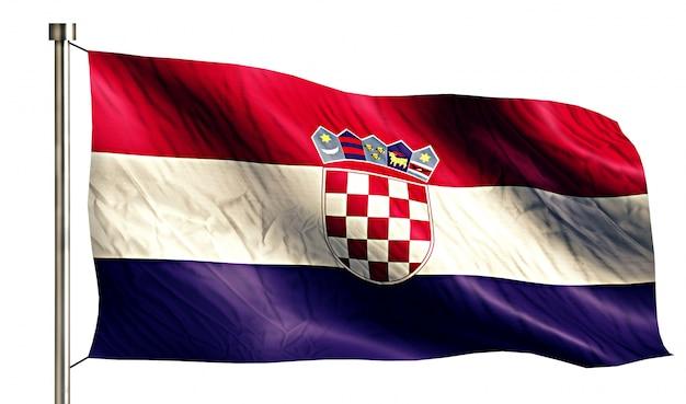 クロアチアの国旗は、3dの白い背景を分離