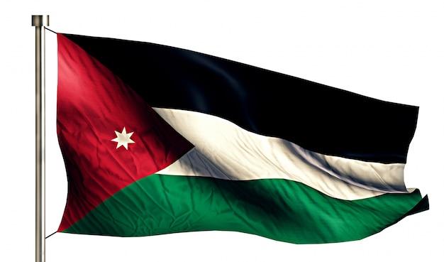 ヨルダンの国旗は、3dの白い背景を分離