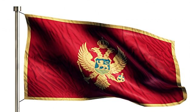 モンテネグロ国旗は、3dの白い背景を分離